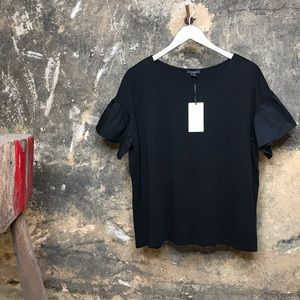 Halogen black short ruffle puff sleeve blouse
